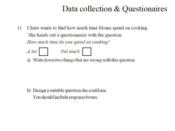 Maths Worksheet: Data collection & questionnaires