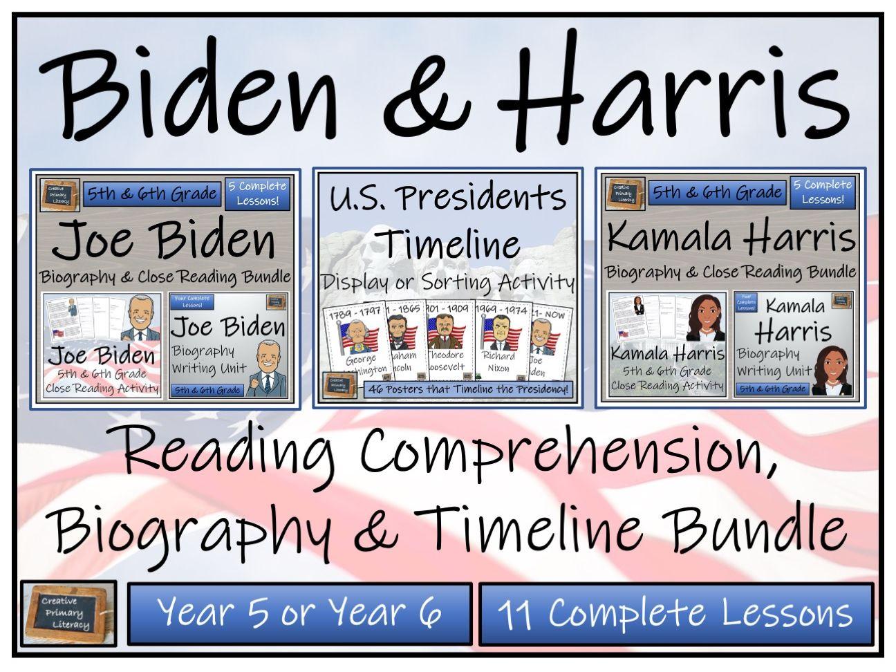 UKS2 Biden & Harris - Reading Comprehension, Biography & Timeline Bundle