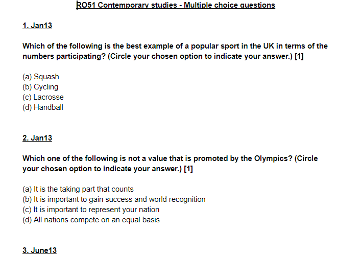 Contemporary Issues in Sport multiple choice questions - OCR Sports Studies RO51