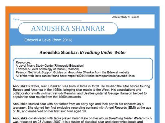 Edexcel Music A Level (from 2016) Anoushka Shankar
