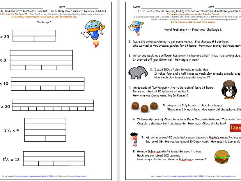 Y5 Fractions Of Amounts And Multiplying By Mixed Numbers Free