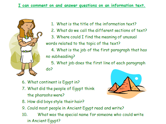 Ancient Egypt information text comprehension