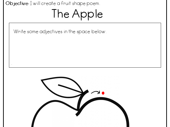 Fruit Shape Poem Activity Worksheet