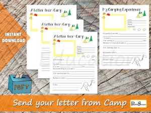 A letter from Camp, Printable Summer Camp Stationery, Write a letter, Print Camping news