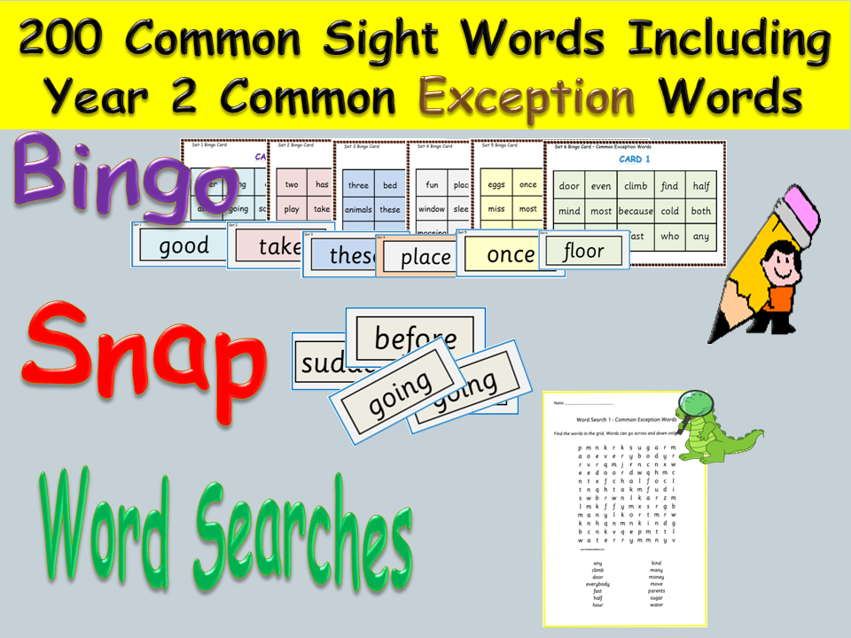 Sight Words &Yr 2 Common Exception Words (200)- Bingo, Snap, Word Searches, Missing letters Activity