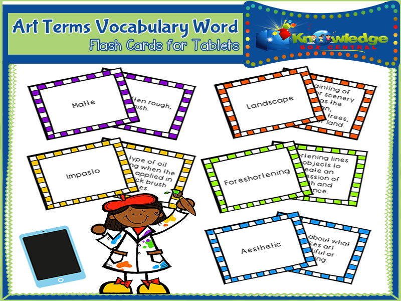 Art Terms Vocabulary Flash Cards - TABLET
