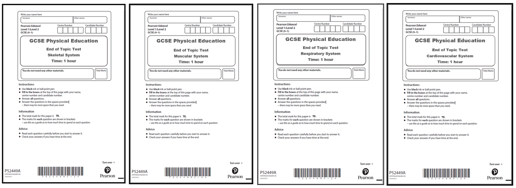 GCSE PE - Edexcel (9-1) - End of Topic Tests (Anatomy and Physiology)