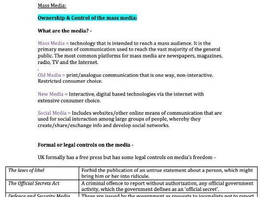 Mass Media Notes (AQA Sociology Notes)