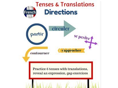 Tenses and translations practice in French with the directions topic