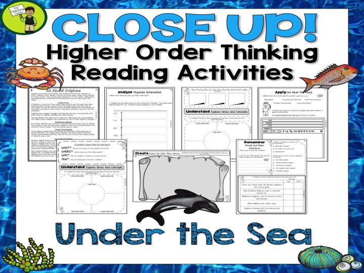 Under The Sea Close Reading Texts/Higher Order Thinking Activities US/NZ