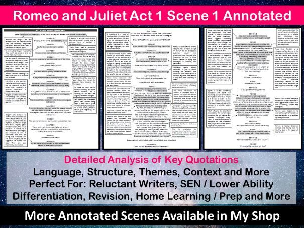 Romeo and Juliet Act 1 Scene 1 Annotated