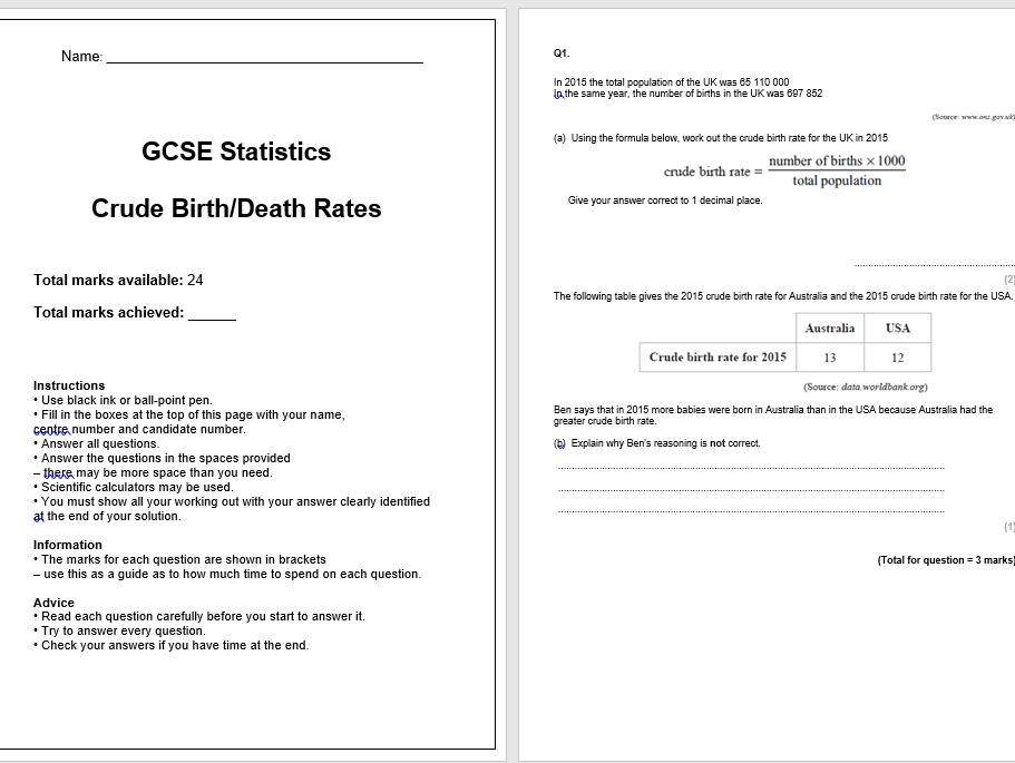 Crude Birth/Death Rates Exam Questions (GCSE Statistics)