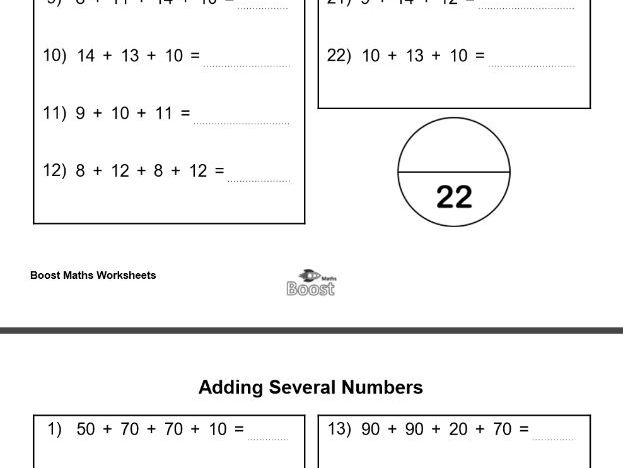 Adding several numbers-including answers