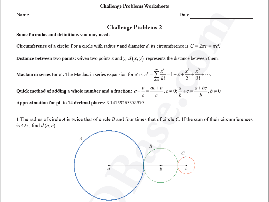 Challenge Problems Worksheets 2