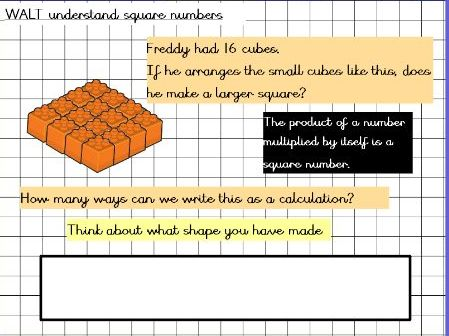 White rose mastery lesson on square numbers year 5