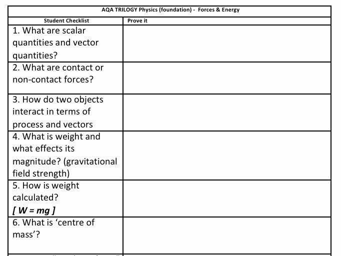 "AQA Trilogy Physics (Foundation) - Forces 6.5.1-6.5.3 ""Prove it"" PLC & Answers"