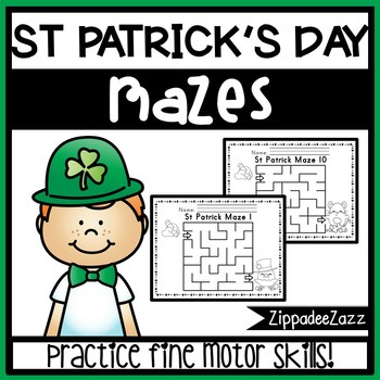 Worksheets for Motor Skills Mazes St Patrick themed