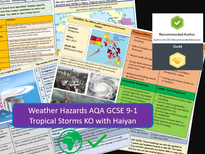GCSE 9-1 AQA : Tropical Storms with Typhoon Haiyan as Example - Knowledge Organiser and Revision