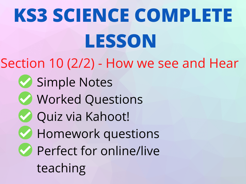 KS3 SCIENCE - How We See and Hear - Perfect Online Lesson incl Kahoot!