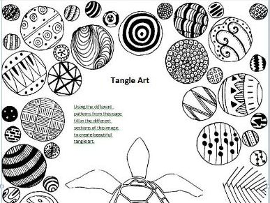Tangle Art Activity - Turtle