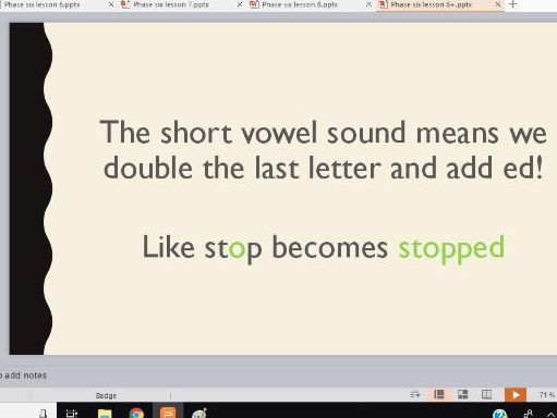 Phonics Phase 6 Whole Class Powerpoints for Lessons 5-8 (past tense: long and short vowel sounds)