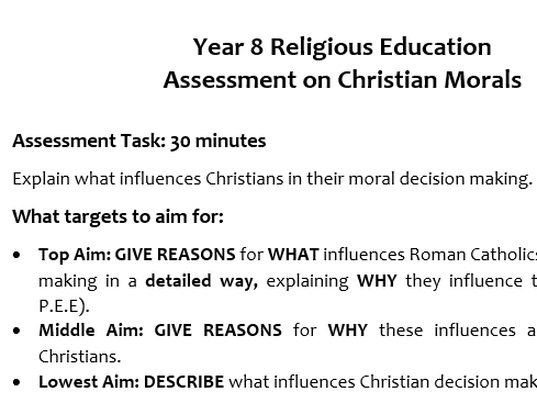 Yr. 8 RE Assessment on Moral Decisions
