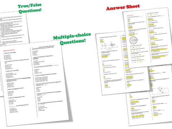 Waves - Seismic Waves; (Earthquake Waves) – Question BANK + Answer Sheet