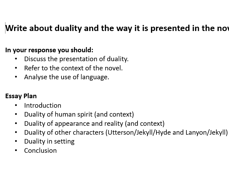 GCSE Duality in 'Jekyll and Hyde'