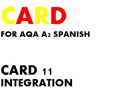 SPEAKING CARD 11 for AQA A2 SPANISH