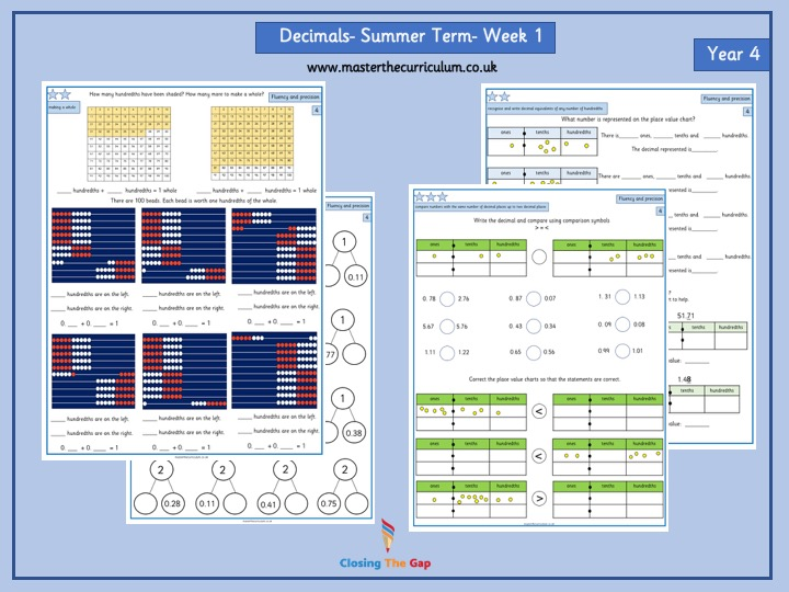 White Rose Year 4 - Decimals - Summer Term Differentiated Worksheets