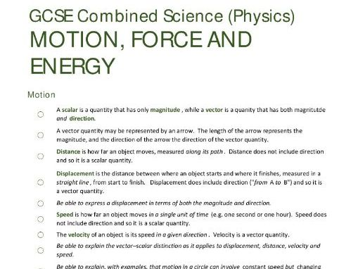 ENERGY/PARTICLES/FORCES unit summaries/checklists for AQA GCSE Combined Science: Trilogy (Physics)