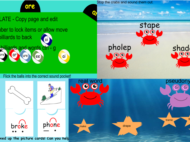 Phonics screening test fun revision IWB games/activities Year 1
