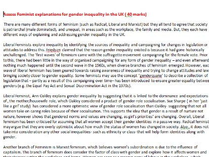3x  40 Mark A * Sociology Social Inequality Examples