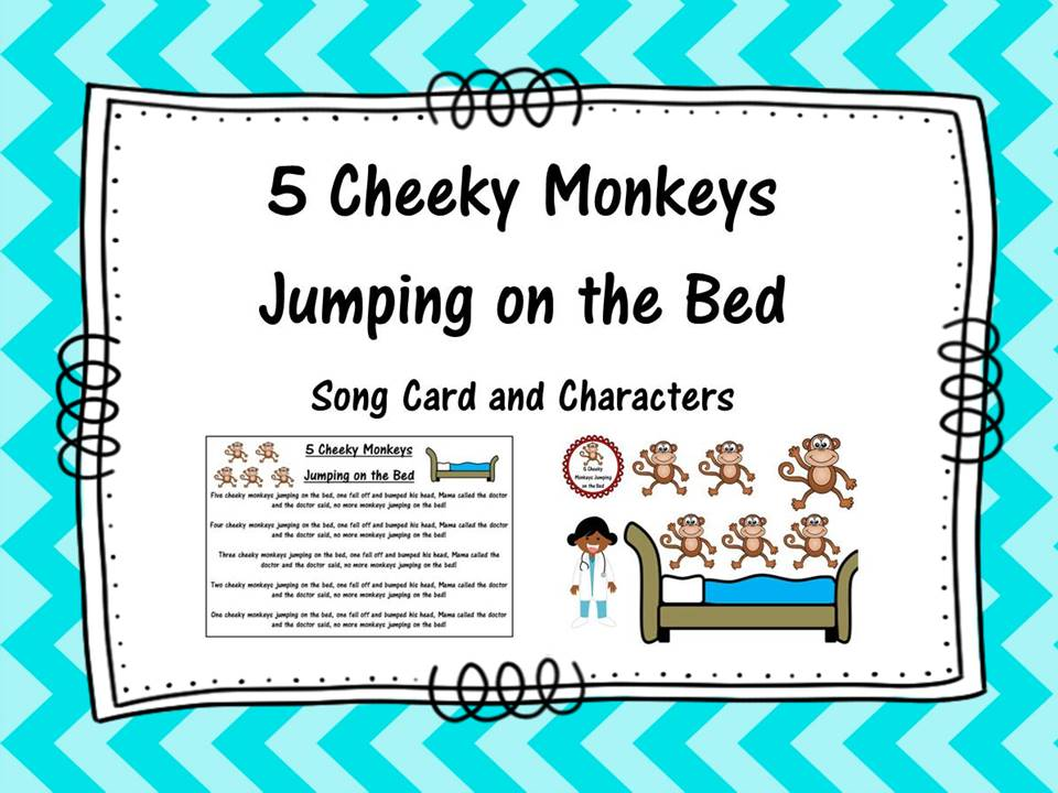 Five Cheeky Monkeys Jumping on a Bed Song and Characters