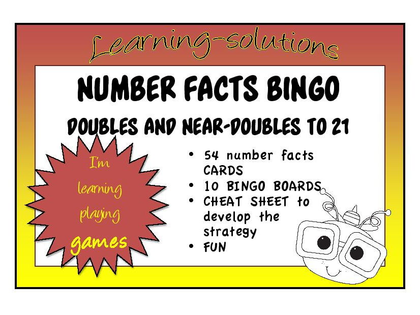 ADDITION NUMBER FACTS - BINGO GAME - Doubles and Near Doubles Facts