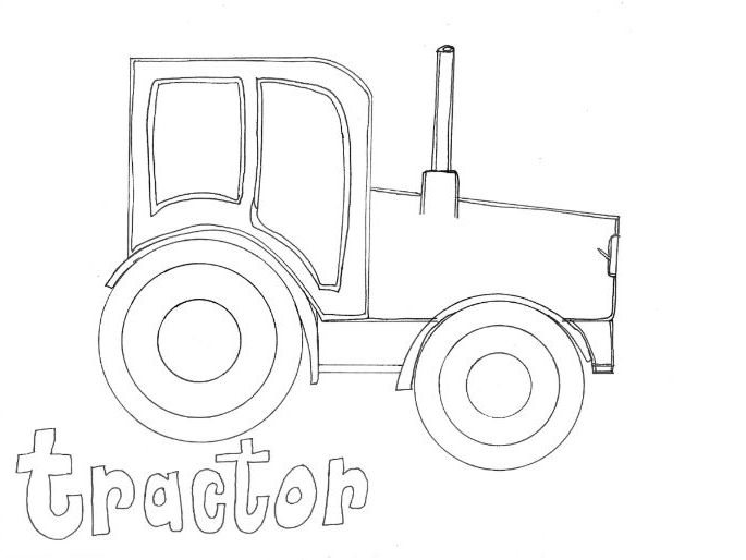 Tractor: Transport and Travel: Colouring Page