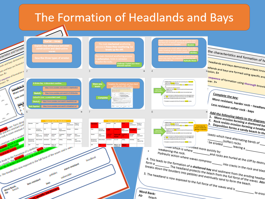 GCSE AQA 9-1 Coasts : The Formation of Headlands and Bays.