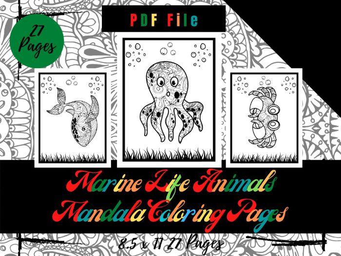 Marine Life Animals Mandala Colouring Pages, Sheets PDF, Printable Pages