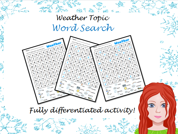 Weather Wordsearch - Differentiated
