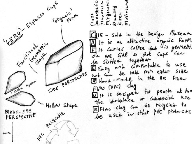 Product Design - Biomimicry Espresso Cup - Final Sketch/ACCESS FM Specification L2 KS3 KS4