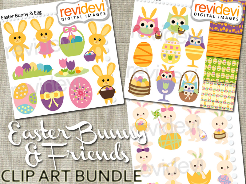 Easter bunny and eggs clip art bundle