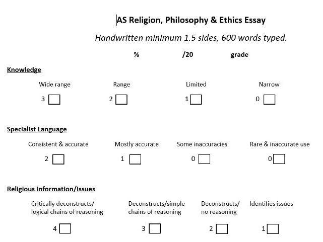 A Level Edexcel Religion, Philosophy, Ethics Marking Criteria