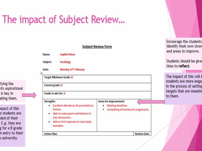 Behaviour for learning: Subject Review forms KS4 & KS5 (INSET/CPD)