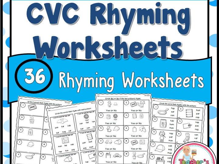 CVC Words Rhyming Worksheets