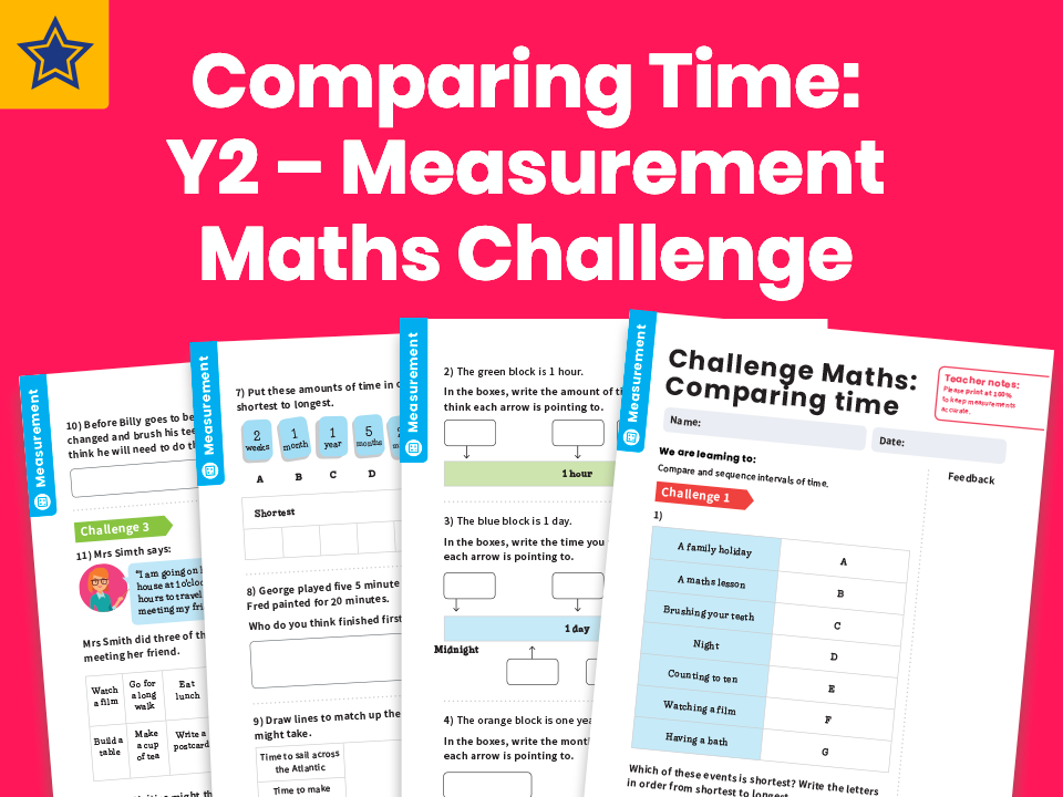 Comparing Time: Y2 – Measurement – Maths Challenge
