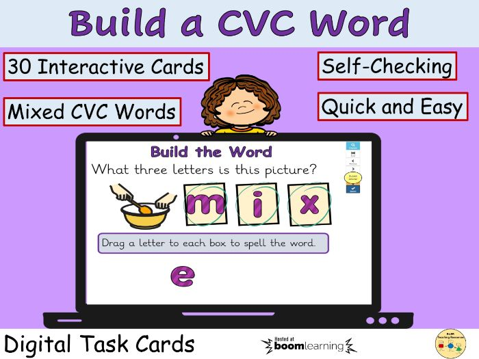 CVC Words Phonic Word Work BOOM Cards Digital Task Cards Distance Learning