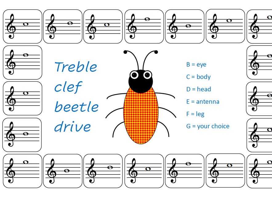Treble Clef Beetle Drive printable game