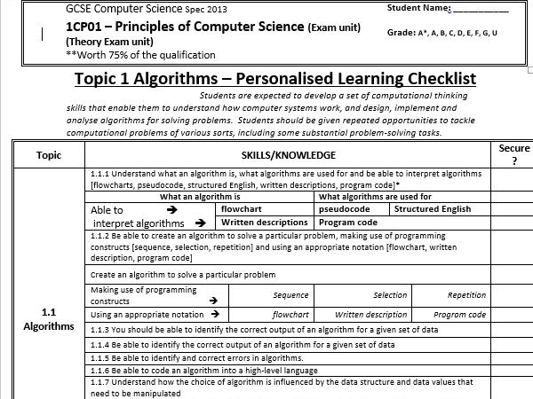 Edexcel GCSE Computer Science Spec 2013 PLC
