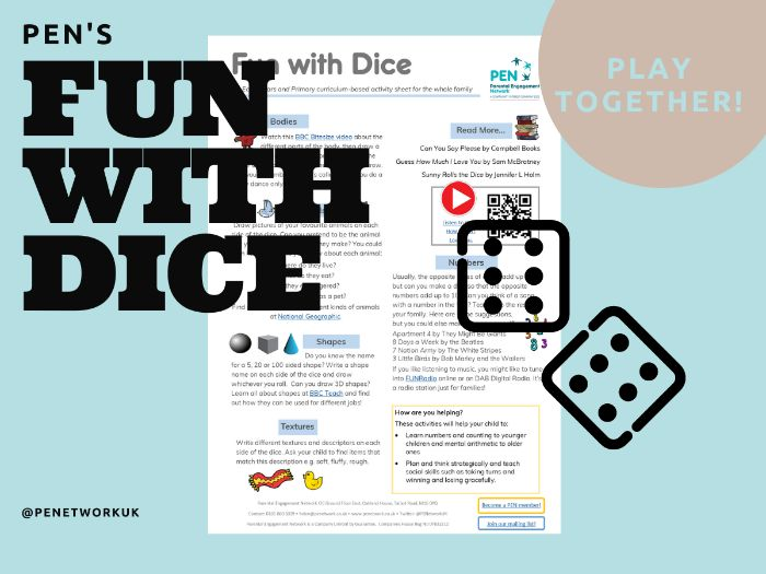 Fun With Dice. An EYFS/KS1/KS2 Family Home Learning Sheet.