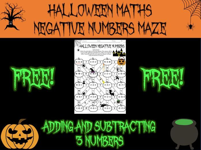 Halloween Maths - negative numbers maze